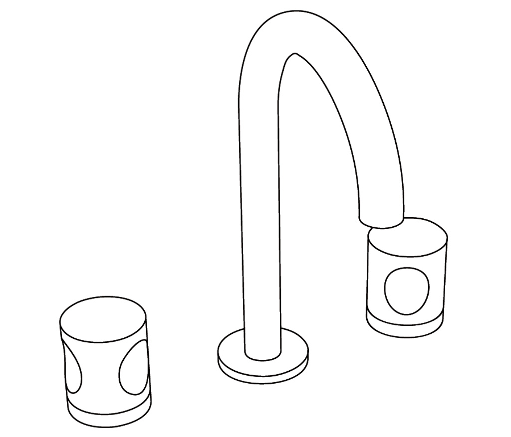 C22-1301 Mélangeur de lavabo 3 trous