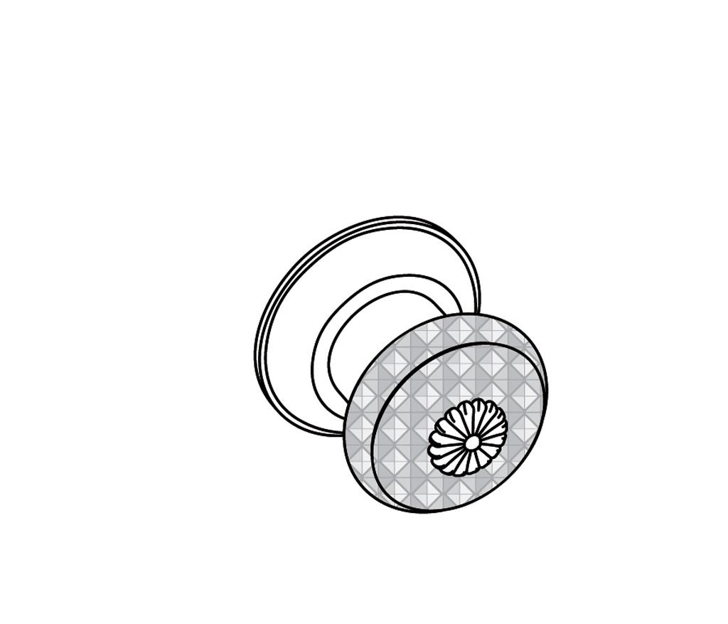 C45-526 Bouton de porte avec plaque