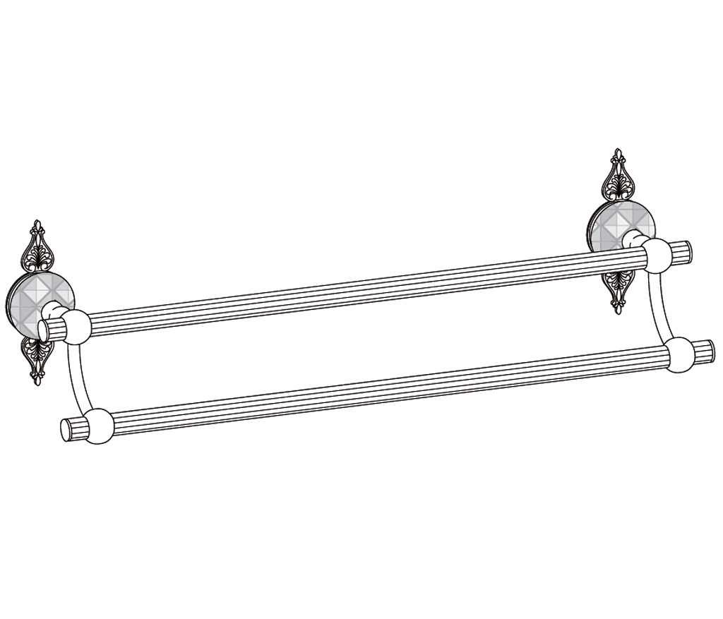 c46-509 porte-serviette 2 barres fixes
