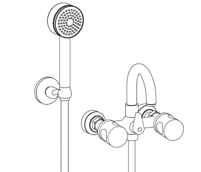 3201 Wall mounted bath and shower mixer