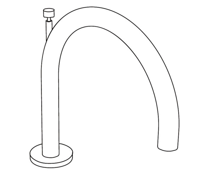 3S1D Rim mounted bath spout
