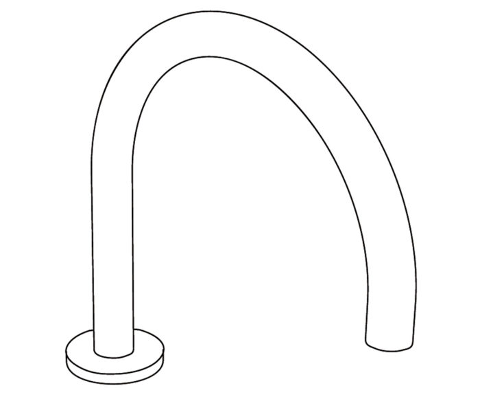 3S1L Rim mounted bath spout